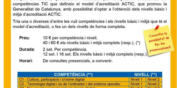 Inscripcions obertes a Formació en competències TIC (ACTIC)
